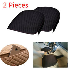 2 Pcs Frone Car Seat Cover with Phone Pocket Non-slip Base Cloth +Fashion Linen