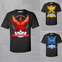 Mens Pokemon Graphic Team Valor Mystic Instinct Short Sleeve T-Shirt Tops Tee
