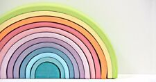 Grimm's Large 12 piece Rainbow Pastel Wooden Toy Brand NEW Stack waldorf xmas