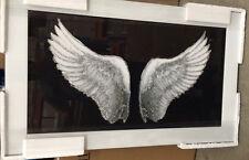 Impresionante Plata Brillo Alas en marco blanco Espejo De Pared Decoración Hogar 100x60cm