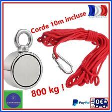 Aimant Peche 800kg Double Face Super Puissant Magnetique Avec Crochet Corde 10M