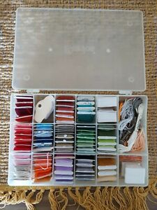 Lot of 82 Embroidery Floss Thread on Cards & Darice Organizer Storage Box Case