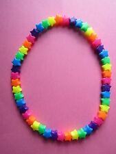 Kitsch Neon Rainbow Plastic Star Bead Elastic 16 inch Necklace Retro Emo Goth