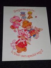 Rare Vintage 1980 ~STRAWBERRY SHORTCAKE Poster~ Collectible Everyones Special
