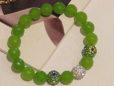 STRETCH BRACELET - GREEN JADE FACETED BEAD & CZ PAVE SHAMBALLA BALLS - FIT 17 CM