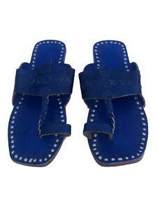 US 7 Womens kolhapuri blue leather slippers