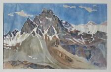 Hans Brasch 1882-1973 large original water colour on paper Alpine landscape