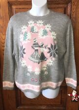 Vintage CAPE COD SPORTSWEAR Gray & Pink Skaters Skating Skate SWEATER, Size XL