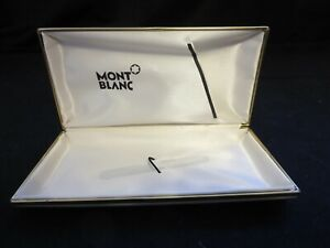 empty Mont Blanc hard case for single pen off white hinged gold trim