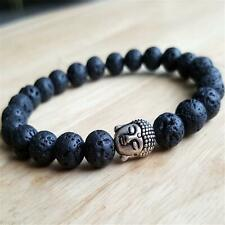 Bracelet Meditation Lucky Wrist Pray Bless 8mm Natural Lava Stone Gemstone Mala