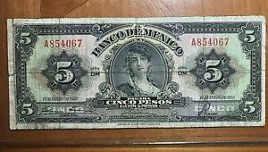 1953 MEXICO 5 PESOS  NICE BANK NOTE