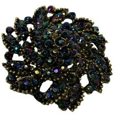 VTG Purple Blue Aurora Borealis Rhinestone Gold Tone Flower Brooch Pin Sparkly