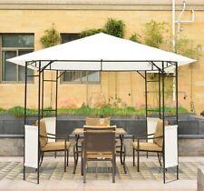 Carpa 3x3x2.6m Cenador Jardin Marco de Acero y 4 Paraviento lateral Color Crema