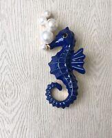 Vintage style  seahorse brooch in enamel on metal