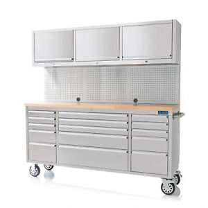 """SGS 72"""" Stainless Steel 15 Drawer Work Bench with Upper Cabinet"""