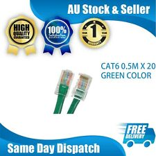 CAT6 ETHERNET NETWORK LAN CORD CABLE PATCH LEAD 0.5M GREEN X 20