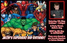 Personalised Spiderman Superhero Birthday Invitation Hulk Photo invite Avengers