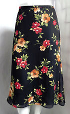 """""""LIZ CLAIBORNE"""" BLACK/RED FLORAL HIGH-LOW CASUAL CAREER A-LINE SKIRT SIZE: 4 NWT"""