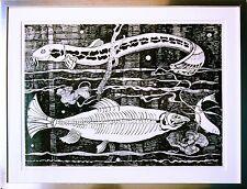 Fische Tusche 41 x 55 cm 1978 Michaela Krinner 1915-2006 + WVZ-Buch, publiziert