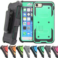 Shockproof Hybrid Hard Armor Holster Case Stand Clip Cover For iPhone 7 8 Plus