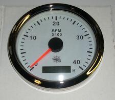 Drehzahlmesser 85 mm  Diesel 0-4000 RMP  Weiss Blende Poliert  27.327.02