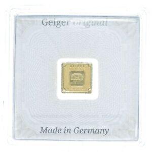 1 Gram 999.9 Fine Gold Bar - Geiger Schloss Guldengossa - Germany Gold Bar *472