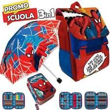 Zaino Scuola Estensibile Spiderman Marvel Kit Completo Ombrello e Astuccio 3 ZIP