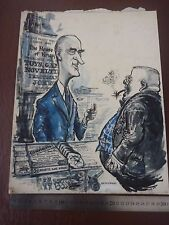 "KRUPPS POST WW2 satire large Pen & Ink orig 20th C illus""Bill Hewison"" Art Edito"