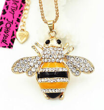 Betsey Johnson Crystal Bumble Bee Gold Pendant Chain Necklace Free Gift Bag
