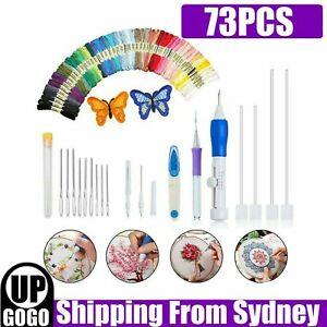 73Pcs/Set Punch Needle Kits Threads Embroidery Pen Magic Knitting Sewing Tool AU