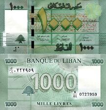 LEBANON 1000 Livres Banknote World Paper Money UNC Currency Pick p90 K/01 Prefix