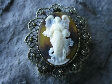 2 IN 1 GUARDIAN ANGEL WITH WINGS CAMEO BROOCH/PIN/PENDANT - tortoise shell look
