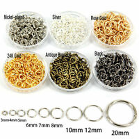 Wholesale 25-300Pcs Charms Open Connectors Jump Split Rings Making DIY 4-20mm