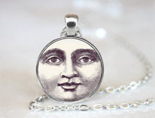 Vintage Inspired Moon Face Lunar Tibet silver pendant chain Necklace