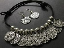 Bijoux suede Choker Necklace With Tibetan Coin Charms Boho Festival gypsy