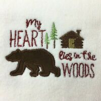 2 Embroidered Guest Hand Towels My Heart Lies in the Woods Lodge Log Cabin Decor