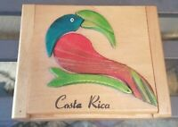 Vintage Handcrafted Costa Rica Jewelry/Trinket Box with Parrot Design