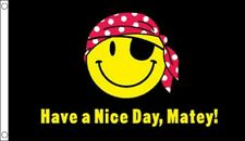 3' x 2' Have a Nice Day Matey Flag Happy Smiley Face Pirate Party Banner