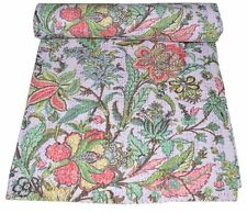 Ethnic Indian Kantha Quilt Queen Indian Cotton Bedspread Boho Throw Blanket New