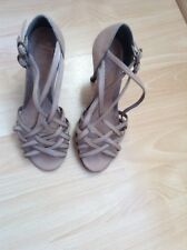 Shellys London Tan/Nude leather strappy buckle sandals UK 4 EU 37