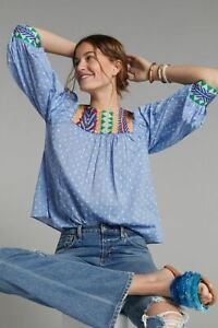 new Anthropologie   Rhapsody Embroidered Blouse SIZE M