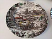 Set Of 4 YORKSHIRE STAFFORDSHIRE IRONSTONE Hay Wagon Farm 4405 Dinner Plates