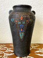 Vintage Huge Textured Black Art Pottery Vase with Japanese Pattern Made in Japan
