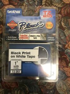 Brother P-Touch TZ-251 Black Print On White Tape