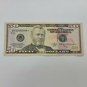 2004 Fifty Dollar $50 Bill Federal Reserve Star Note Dallas Paper Money
