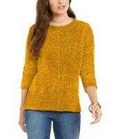 Style & Co Women's Chenille Pullover Sweater Golden Sunrise Size Small