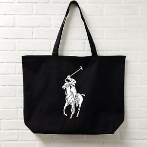 LARGE Mens Womens Ralph Lauren Polo Tote Canvas Black Bag Gift