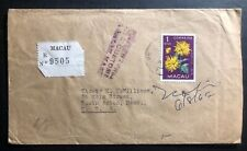 1970 Macau Portugal Registered Cover To South Action MA USA