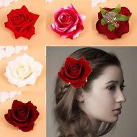 Beautiful Blooming Rose Flower Wedding Bridal Hair Clip Headpiece Brooch Pin