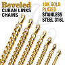 """18K Gold Plated Beveled Cuban Links Stainless Steel 316L Chain Necklace 14""""-48"""""""
